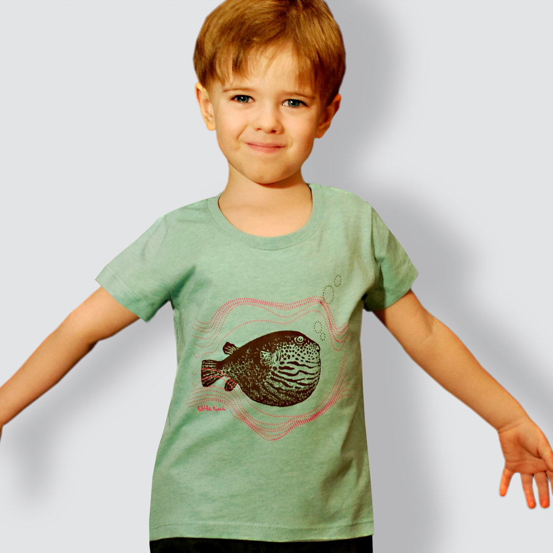 "Kinder T-Shirt, ""Kugelfisch"", Mid Heather Green"