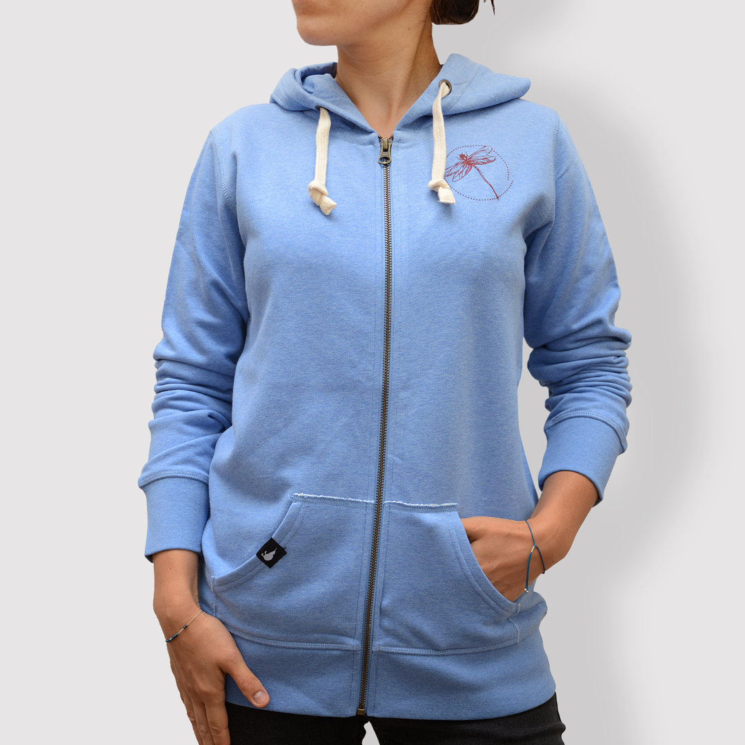 "Damen Hoodie, ""Libelle"", Mid Heather Blue"