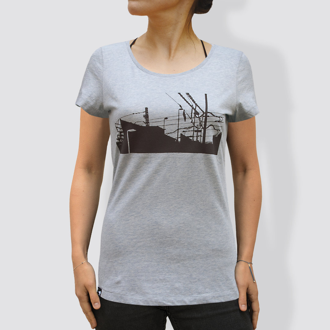 "Damen T-Shirt, ""Downtown Train"", Heather Ice Blue"