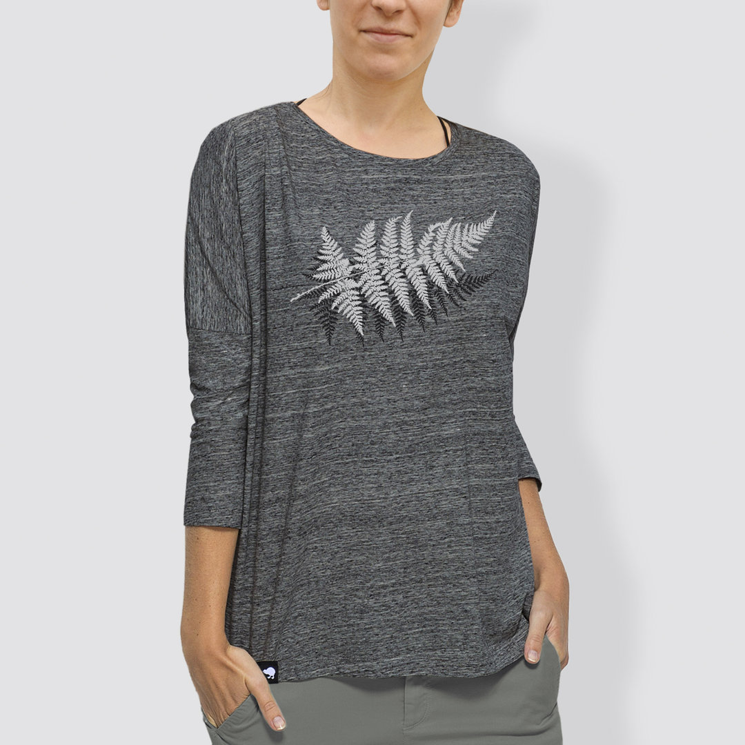 "Damen Longsleeve; 3/4-Arm, ""Farn"", Slub Heather Grey"