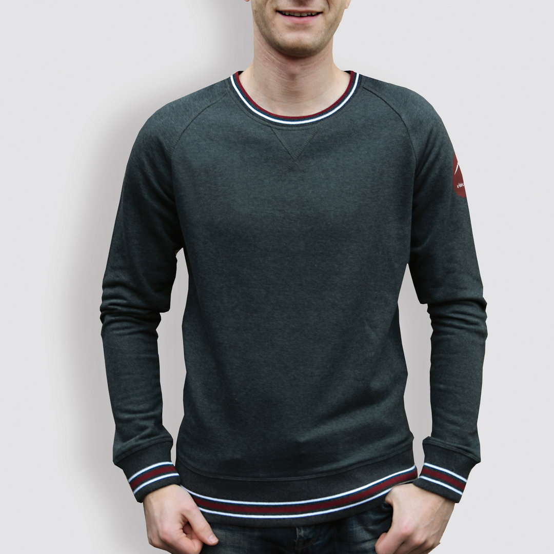 "Herren Sweater, ""Origami"", Grey/White/Burgundy"
