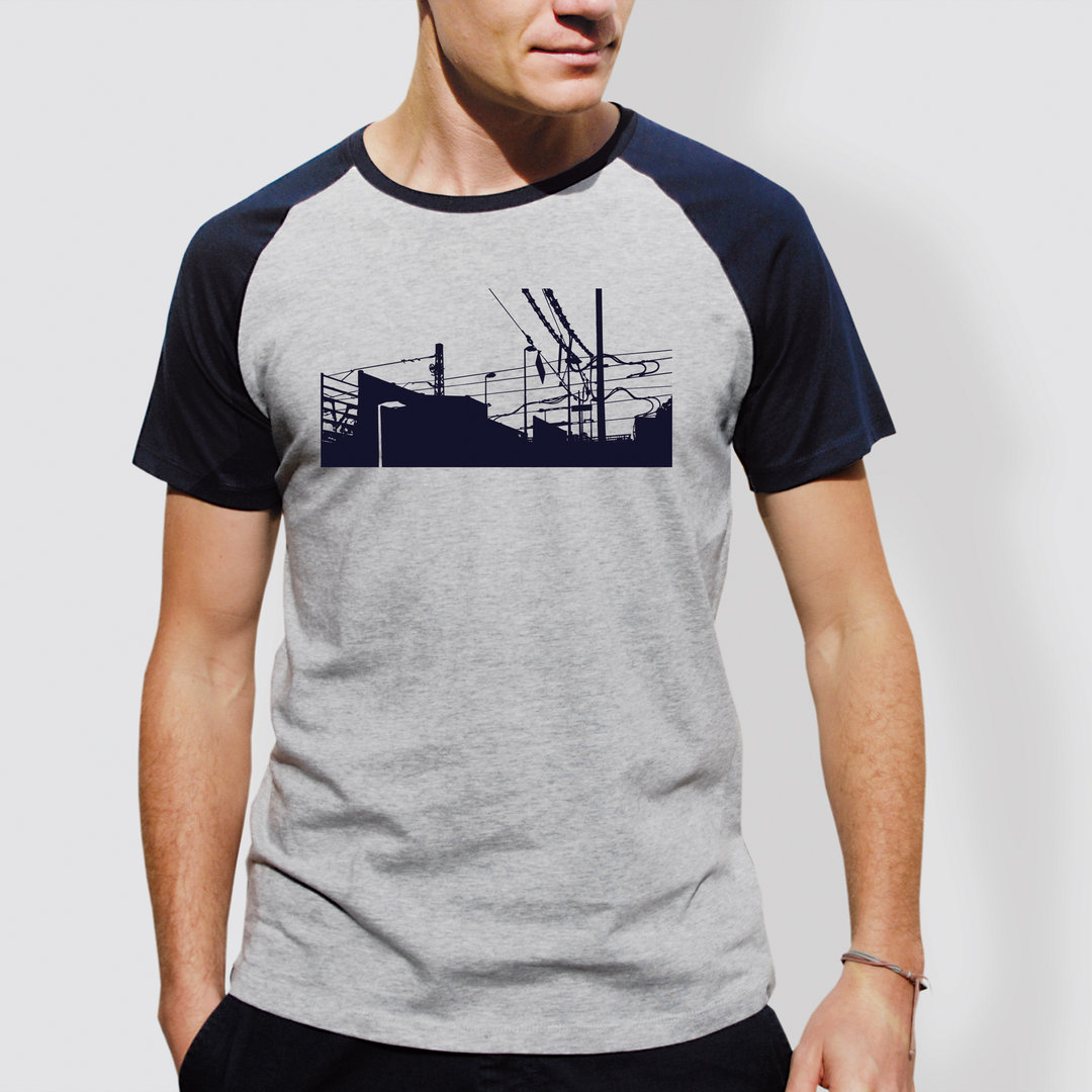 "Unisex T-Shirt, ""Downtown Train"", Heather Ash/Navy"