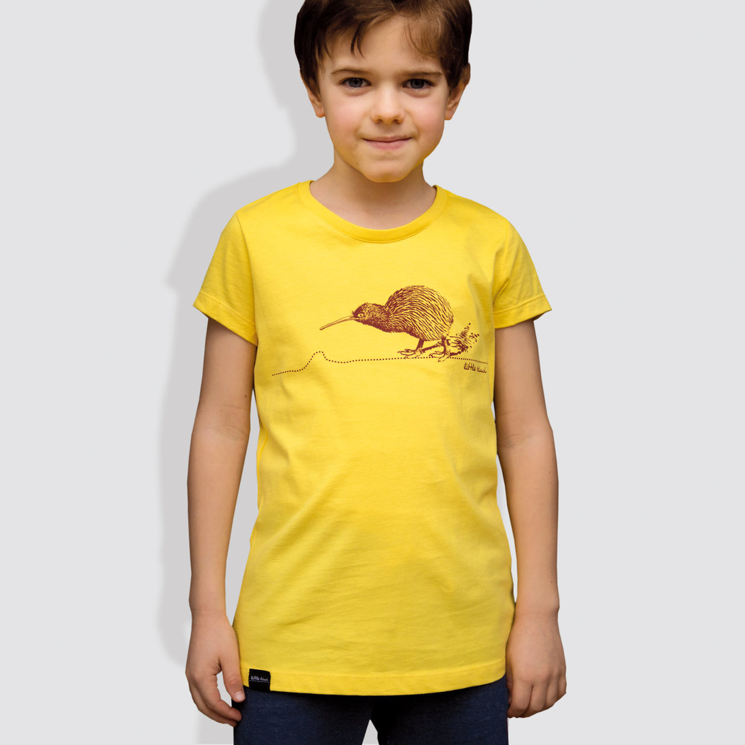 "Kinder T-Shirt, ""Kiwi"", Maiz Yellow"