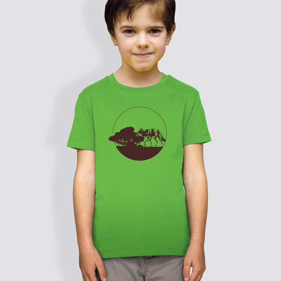"Kinder T-Shirt, ""Kojote"", Green"