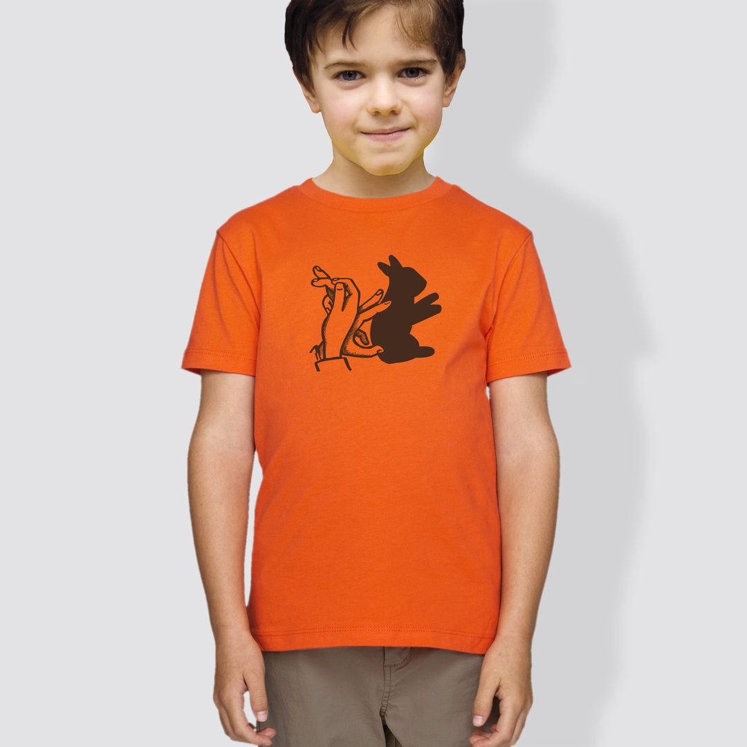 "Kinder T-Shirt, ""Schattenhase"", Blau/Orange"