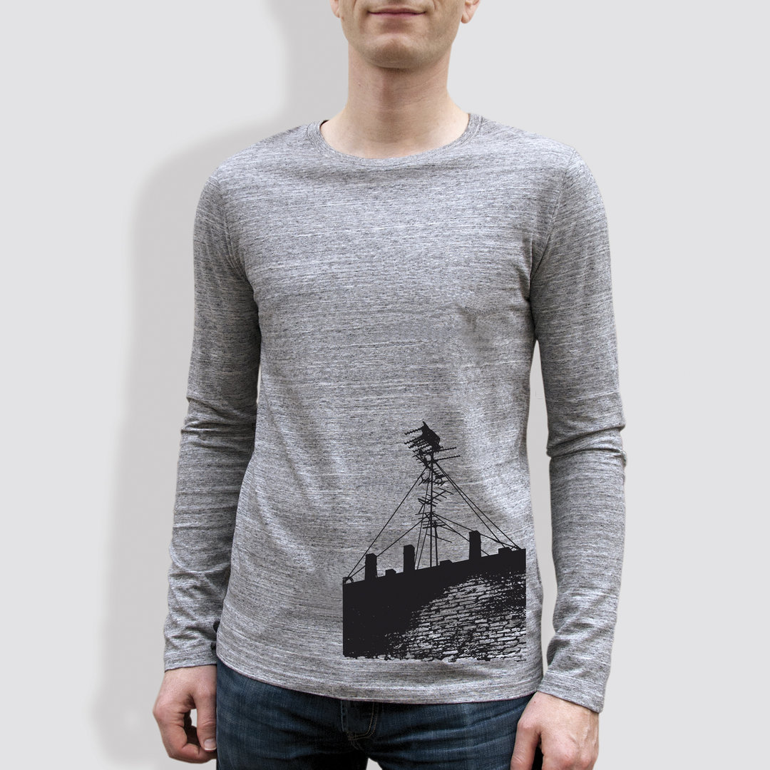 "Herren Longsleeve, ""Antenne"", Heather Grey"