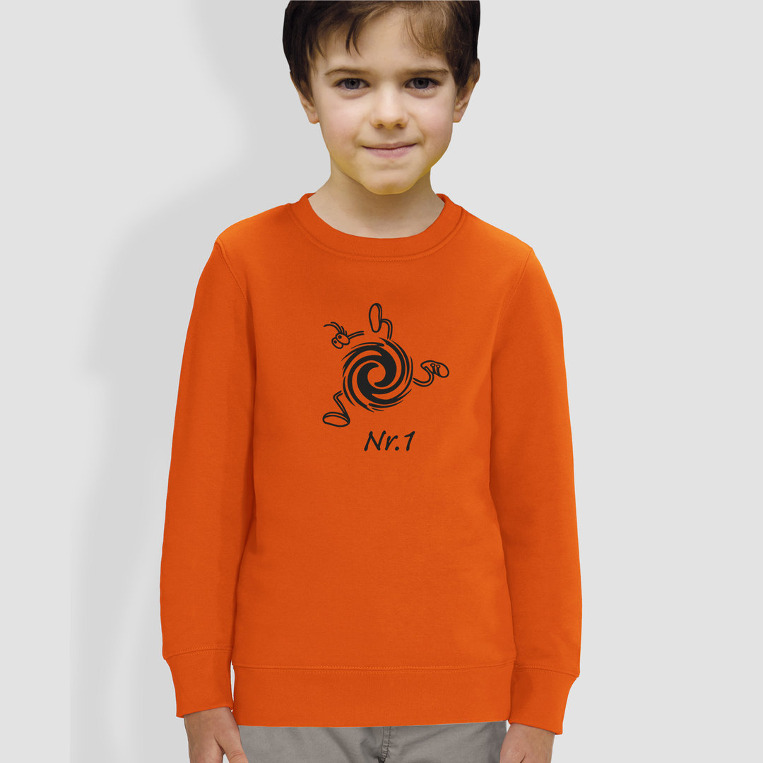 "Kinder Sweatshirt, ""Nummer Eins"", Orange"